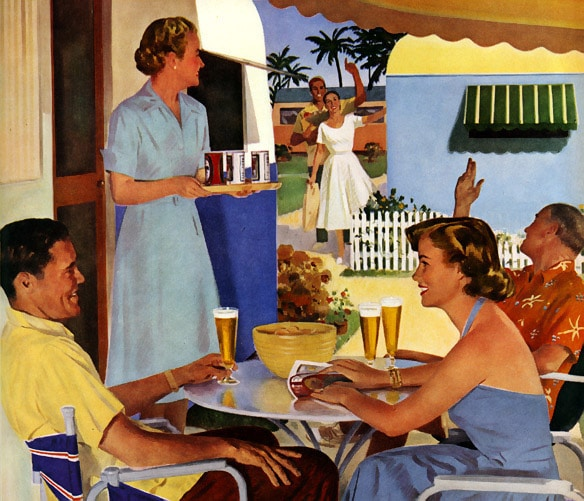 1950s backyard party with friends illustration drinking beer