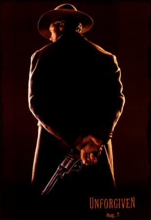 Unforgiven movie poster actor holding gun.