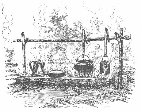 cooking fire outdoor kitchen vintage illustration drawing