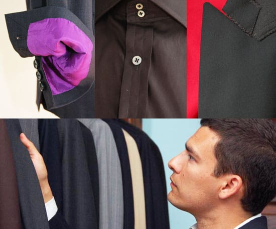 Man checking different formal outfits.
