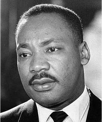 Martin Luther King Jr potrait showing mustache.