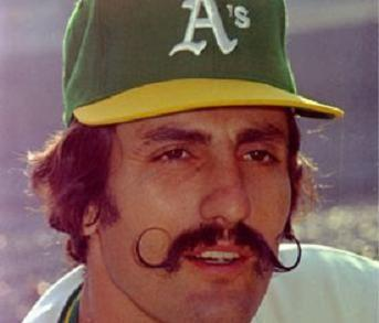Baseball player Rollie Fingers with mustache.