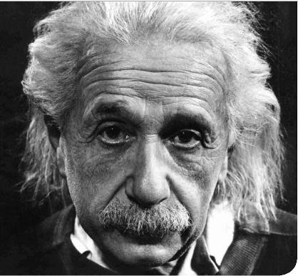 Albert Einstein's portrait showing mustache.