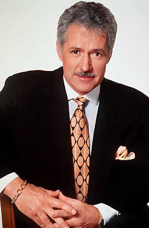 Formally dressed Alex Trebek posing with a mustache.