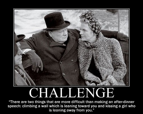 A motivational quote about Challenge by Winston Churchill.