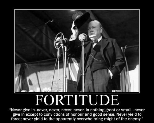 winston churchill never give in quote motivational poster