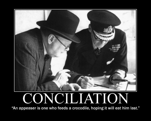A motivational quote about Conciliation by Winston Churchill.