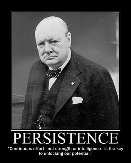 winston churchill continuous effort quote motivational poster