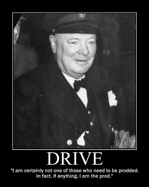 winston churchill prodding drive quote motivational poster