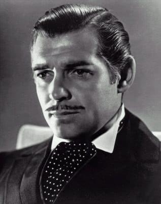 Actor Clark Gable's portrait showing mustache.