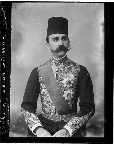 Portrait of Prince Hussein Pacha of Egypt with mustache.