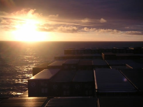 Sunset view from the top of freighter ship.