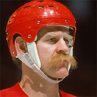 Hockey player Lanny Mcdonald in mustache.
