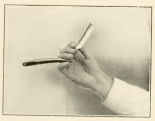 Illustration of how to hold a straight razor.