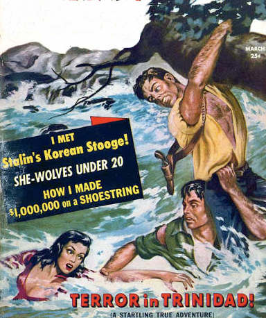 men's adventure magazine cover man saving woman river