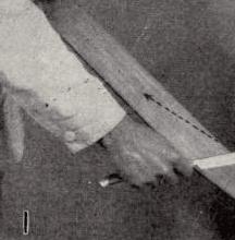 Illustration of stropping the razor honing blade.