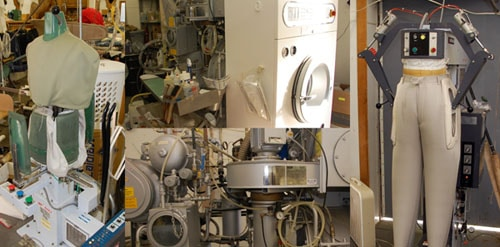 Illustration of different machinery specialized for pressing and cleaning clothes.