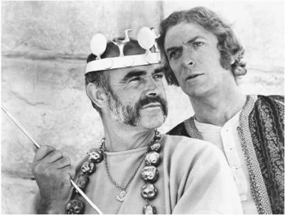 Movie scene of Connery Caine in Man Who Would Be King.