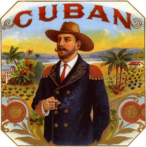Man formally dressed smoking a Cuban cigar illustration.