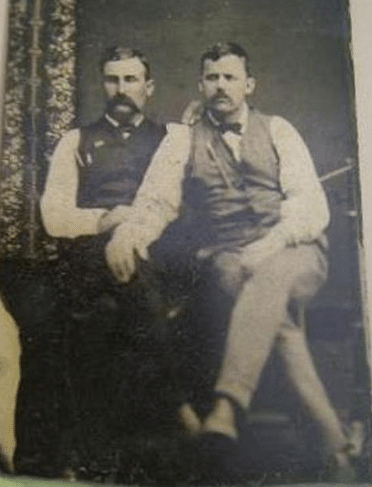 vintage male friends late 1800s intimate portrait