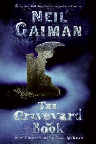 "Book cover of ""The Graveyard Book"" by Neil Gaiman."