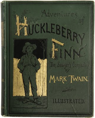 "Book cover of ""HuckleBerry Finn"" by Mark Twain."