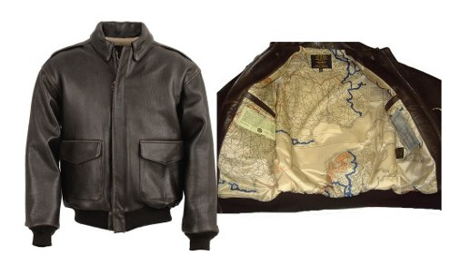 Inner and outer view of Schott's leather jacket.