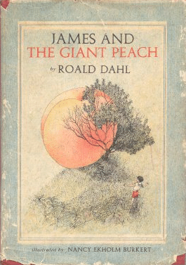 "Book cover of ""James and the Giant Peach"" by Roald Dahl."