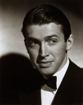 jimmy stewart actor headshot tuxedo black white