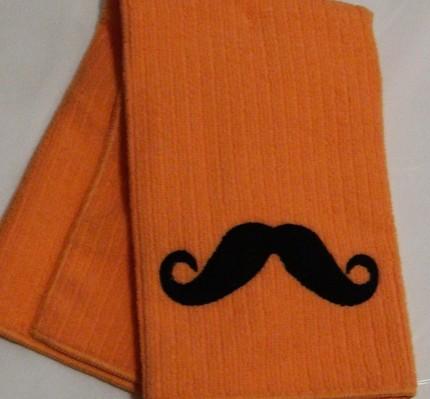 mustache hand towel