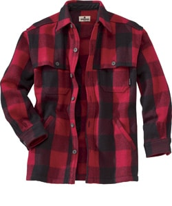 Red men's original stag shirt by Woolrich.