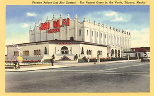 Jai alai game's white building in mexico.