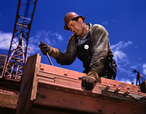 vintage blue collar man working steelworker beam