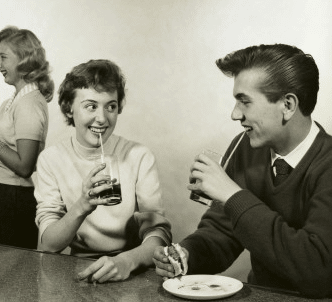 vintage 1950s young couple on date