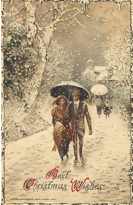 vintage christmas card couple walking snowy lane