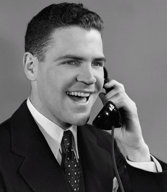vintage man on phone with smile happy look on face