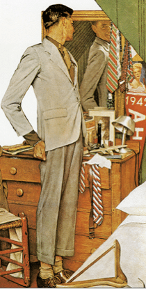 vintage young man looking in mirror suit illustration