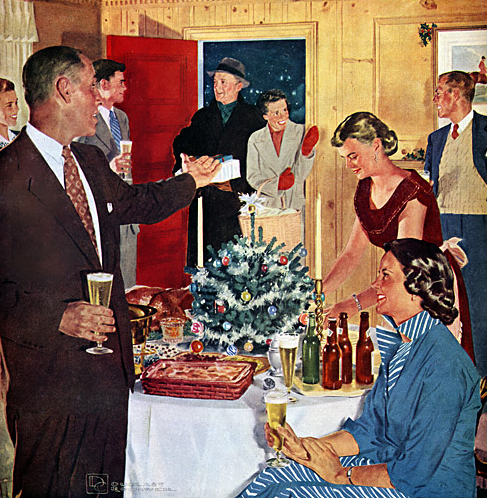 vintage 1950s christmas holiday party illustration