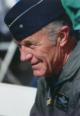 Chuck Yeager in air force uniform portrait.