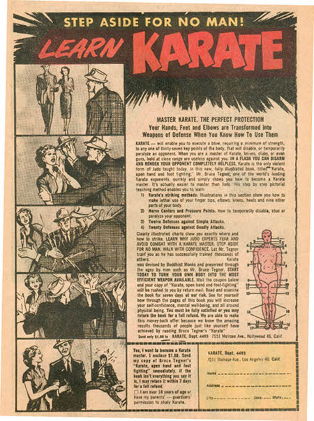 Vintage karate ad advertisement learn martial arts.