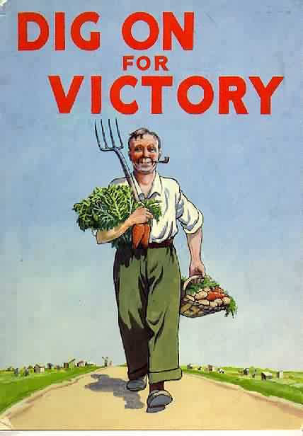 dig on for victory gardening poster vintage