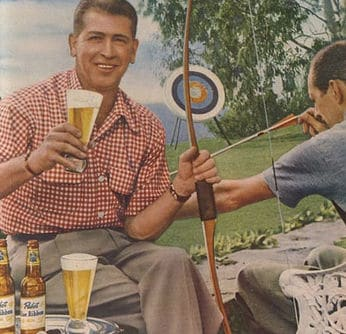 Vintage 1950s illustration archery and beer.