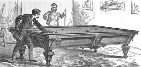 vintage billiards engraving victorian pool hall