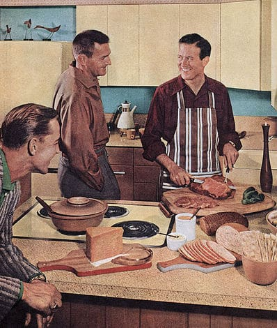 1950s vintage illustration men cooking in kitchen.