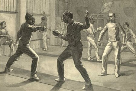 vintage illustration fencing club men sparring