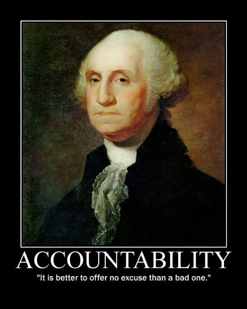 George Washington's Accountability quote motivational poster.