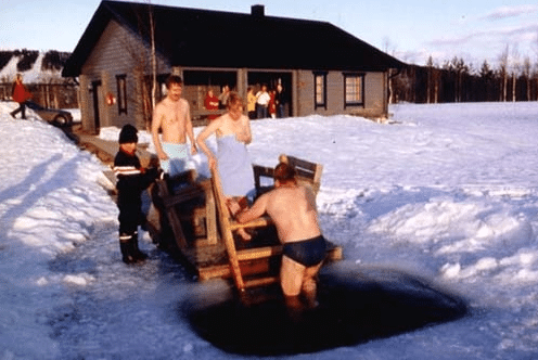 Ice hole swimming finland Finnish people.