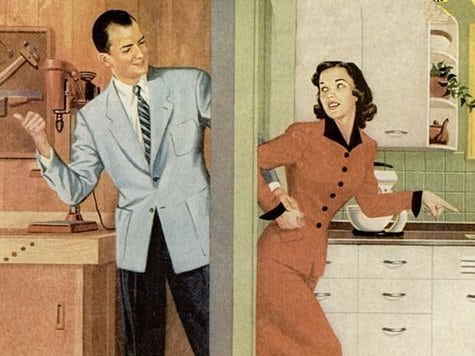 vintage illustration man garage woman kitchen male space