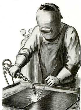 Man doing metalwork illustration drawing metalworking.