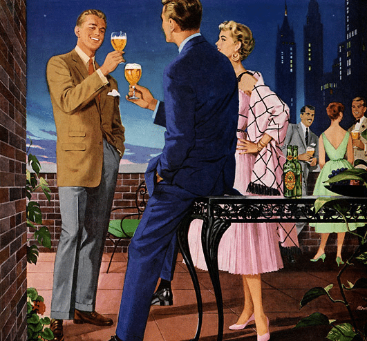1950s vintage illustration rooftop party drinking beer